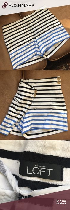 Preppy Striped Shorts from Loft Super cute black and light blue striped shorts! Zipper on the side as well as cute buttons. Buttons on the back pockets too. Unfortunately for some reason there is no size but I wore them when I was a six! So I would say they are a medium or a size six. By Loft. LOFT Shorts