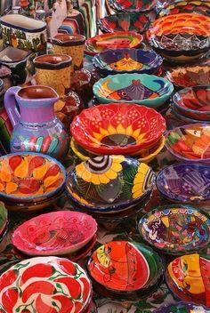 bright colored Mexican ceramics