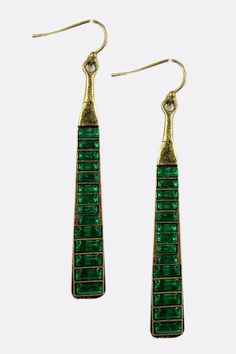 Emerald Sima Crystal Earrings - Gorgeous color