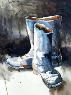 These Boots by Sarah Yeoman Watercolor ~ 36 x 24