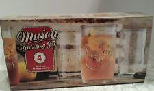 Home Essentials Mason Drinking Jars Glasses Set of 4 NIB No Handles 20 oz each