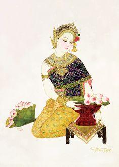 หญิงไทยกับวัฒนธรรม ภาพเขียนสี ฝีมือศิลปินแห่งชาติ อาจารย์จักรพันธุ์ โปษยกฤต