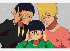 Ekubo, Teru & Mob: never realised how cute they look with glasses :) (Mob Psycho 100)