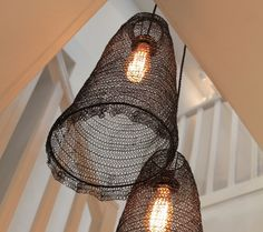 For the entrance hallway beautiful jatani wire lamp shade treccia hanging wire lamp slightly irregular hand knitted wire lampshades like inverted baskets with scalloped edges cast a soft light with delicate greentooth Image collections