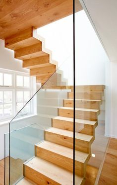 glass stair railing Staircase Contemporary with floating staircase glass railing glass stair rail U Shaped Staircase, Wooden Staircase Railing, Floating Staircase, Wooden Stairs, Banisters, Staircase Contemporary, Traditional Staircase, Modern Staircase, Staircase Design