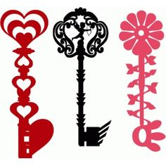 Silhouette Design Store - View Design #37056: valentines vintage keys