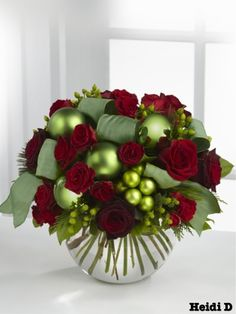 Red roses and green ribbons and baubles