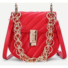 PU Saddle Bag With Chain Handle (8.13 BAM) ❤ liked on Polyvore featuring bags, handbags, shoulder bags, red handbags, chain handle handbags, chain handle purses, pu handbag and saddle bags