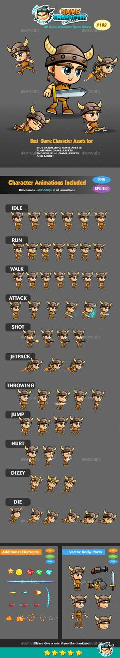 Viking Boy 2D Game Character Sprites 198 — Vector EPS #run #animation • Available here → https://graphicriver.net/item/viking-boy-2d-game-character-sprites-198/15030385?ref=pxcr