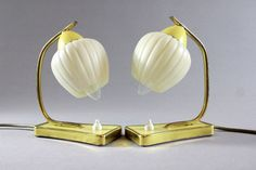 Vintage Mid Century Art Deco Night Stand Bedside Lamps Pair Yellow Brass Bakelite Plug 40s 50s by Vinteology on Etsy