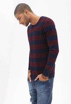 Rugby Striped Sweater #21Men