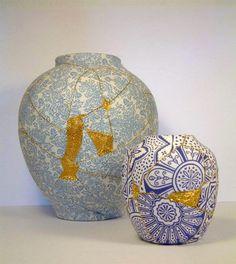 Charlotte Bailey ceramica arreglar oro 6 Imitación de la técnica japonesa kintsugi. Envuelve las piezas rotas con tela y luego las zurce con hilo de oro.