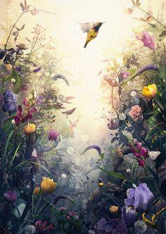 Emergence artwork by Jesper Krijgsman Art Painting, Flower Art, Mural Art, Painting, Art, Abstract, Canvas Painting, Landscape Art, Watercolor Paintings Easy