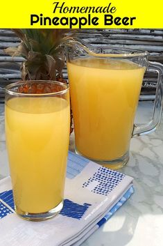 Homemade Pineapple Beer is a refreshing South-African traditional drink. Non-alcoholic or leave the Beer to ferment longer to make an alcoholic version Mead Wine Recipes, Homemade Wine Recipes, Mead Recipe, Homemade Alcohol, Homemade Beer, Easy Drink Recipes, Beer Recipes, Alcohol Recipes, Booze Drink
