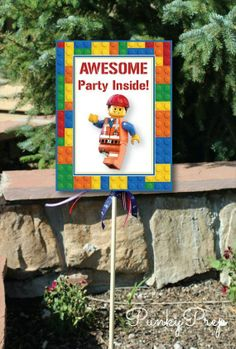 Lego Movie Birthday Party Yard Sign Small Yard Sign by Punkyprep, $2.95