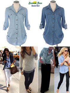 Denim shirt outfits -- Wear tucked out with brown belt, layered under light sweater or tshirt, tie around waist on top of black maxi skirt or over little floral dress. Love these options! Mode Outfits, Fall Outfits, Casual Outfits, Fashion Outfits, Womens Fashion, Petite Fashion, Fashion Ideas, Fashion Trends, Look Camisa Jeans