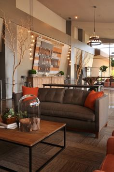 Evergreen NHope- Inspiration. Gray & orange, rustic and industrial touches. Cool with the brick and wood.