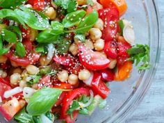 Healthy Tomatoes, Basil and Chickpea Salad - Vegan and Gluten-Free - Beauty Bites Vegan Dinner Recipes, Healthy Salad Recipes, Vegan Dinners, Vegetarian Recipes, Cooking Recipes, Gluten Free Meal Plan, Dairy Free Recipes, Easy Mediterranean Diet Recipes, Herb Salad
