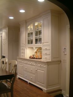 Gray painted built in hutch w marble countertop OR take the