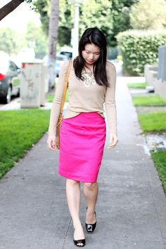neutral sweater + bright pencil skirt | Clothed Much