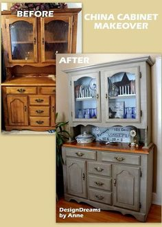 farmhouse china cabinet makeover, home decor, painted furniture, The very dark before with the lighter brighter farmhouse after