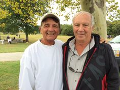 coaches Bob Burkley (L) and Harry Schneider (R) 10/7/14 at Sunken Meadow x-c course kings park Long Island ny