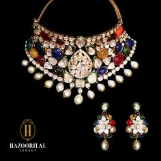 Navaratna, a sacred amalgamation of nine auspicious gems: #Diamond, #Ruby, #Emerald, #Sapphire, #Pearl, #Coral, #Hessonite, #Catseye and #YellowSapphire. #Hazoorilal #Jewelry #Necklace #Earrings