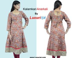 A beautiful Kalamkari Anarkali suit in cotton is ideal for all occasions ,3/4 th sleeves with wide copper flare and back with dhori. #kalamkari anarkali #kurtas #cottonkurta #ethnickurti #printedkurti #printedfabric