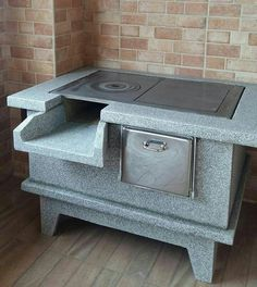 Kitchen Room Design, Outdoor Kitchen Design, Home Decor Kitchen, Outdoor Kitchens, Antique Wood Stove, How To Antique Wood, Tyni House, Outdoor Fireplace Designs, Outdoor Oven