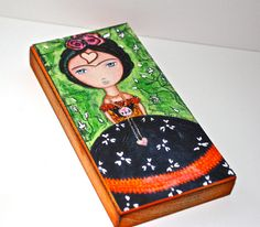 New 3 x 6 inches wood block! Frida  Thinking of Love   Giclee print mounted on by FlorLarios, $18.00