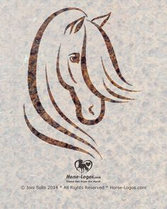 A pretty headed horse graphic in simple lines with a long flowing mane and ears pricked forward.