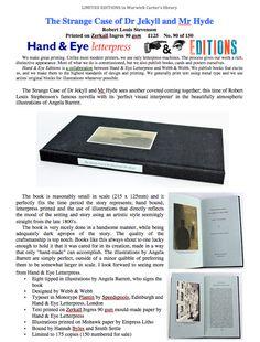 The Strange Case of Dr. Jekyll and Mr. Jekyll And Mr Hyde, Robert Louis Stevenson, Letterpress, Hands, The Originals, Eyes, Books, Handmade, Beautiful