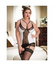 7ca3c1709 095 White PVC Wet Look Vinyl   Lace Plus Size Babydoll M-6XL 10-
