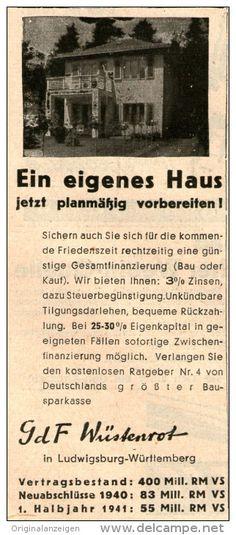 Original-Werbung/Anzeige 1941 - GDF WÜSTENROT / LUDWIGSBURG - WÜRTTEMBERG - 45x 110 mm