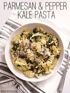 """This no-fail """"formula"""" is your easy answer to dinner. Parmesan & Pepper Kale Pasta - BudgetBytes.com (Dinner Quick 3 Ingredients)"""