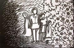"Autor: Ana Arista, ""Medio círculo"", técnica: grabado, linoleo"