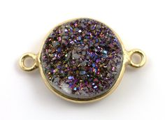 Raw Purple Druzy Crystal Cluster Bezel Coin by Beadspoint on Etsy, $7.99
