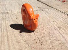 Snail  orange ceramic Stonewear cute miniature by AmazingCaitlin, $5.00