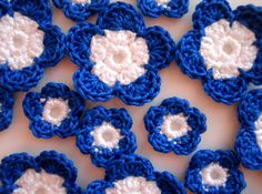 Crochet Flower Applique Navy Blue & Snow White