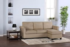 Wonderful Small Sectional Sofa for Homey Relaxation: Minimalist Living Room Design With Great Small Sectional Sofa With Beige Color Decoration In Wooden Flooring And White Wall Interior Decor ~ CLAFFISICA Furniture Inspiration