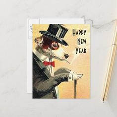 Shop Distinguished Dog New Year Wishes Holiday Postcard created by tnmpastperfect. New Years Eve Events, New Years Eve Drinks, New Years Eve Party, New Year Wishes, New Year Greetings, New Year Card, Vintage Holiday Postcards, Vintage Greeting Cards, Chicken Holiday