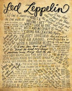 Led Zeppelin Lyrics and Quotes - 8x10 handdrawn and handlettered printed on antiqued paper by mollymattin on Etsy