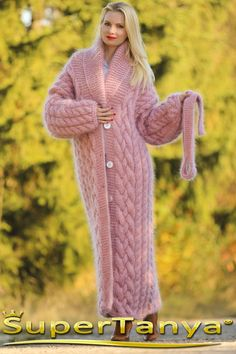 Made to order hand knitted warm mohair cardigan in pale pink, fuzzy long handcrafted coat by SuperTanyaSuperTanya online boutique for hand knitted sweaters and other hand made knitwear crafted from mohair angora cashmere alpaca and other premium materials Crochet Coat, Knitted Coat, Hand Knitted Sweaters, Mohair Sweater, Sweater Coats, Wool Sweaters, Knit Cardigan, Wool Coat, Gros Pull Mohair