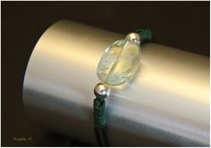 Pulsera de plata y cuarzo verde. Joyería Artesanal Personalizada.