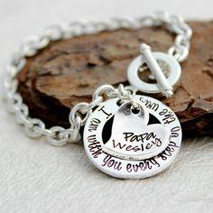 Memorial Bracelet - In Memory of - Memorial Jewelry - Always in my Heart - Loss of Loved One Bracelet - Wedding Bracelet - Sympathy Gift Loss Of Loved One, Little Bit Of Love, Thing 1, Memorial Jewelry, Sympathy Gifts, Wedding Bracelet, Stamped Jewelry, Pink Tourmaline, Metal Stamping
