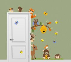 Woodland themed nursery!! I SO want this!! Forest Friends Animal Decal Honey Bear Fox by onehipstickerchic
