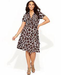 INC International Concepts Plus Size Dress, Cap-Sleeve Printed Faux-Wrap - Plus Size Dresses - Plus Sizes - Macy's