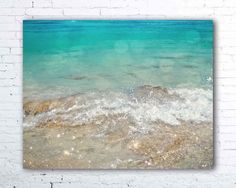 """""""Azure"""" PHOTOGRAPH - beach decor - tropical wall art. TITLE - AZURE (signed fine art photograph) The aqua color of the Caribbean Sea - one of my favorite hues on the planet. This beachy photo was taken on Catalina Island in the Dominican Republic. I was fascinated by the blue waves crashing ashore in the warm Caribbean sun. It was paradise."""