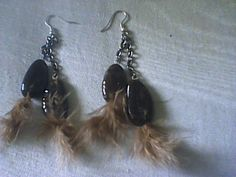 cocoa bean earrings wt feather