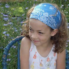 Light Blue Bandana Wide Headband